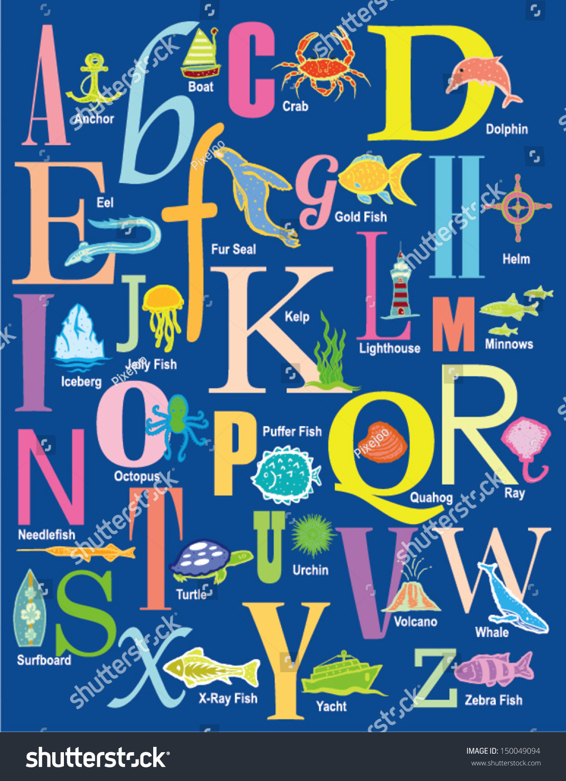 Ocean Alphabet Theme Design With Letters And Descriptions