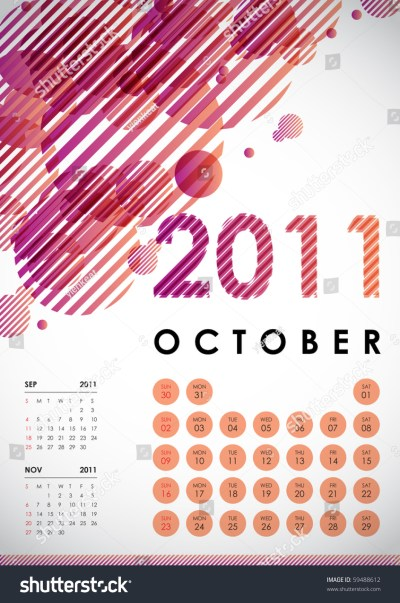 October - Calendar Design 2011 Stock Vector Illustration ...