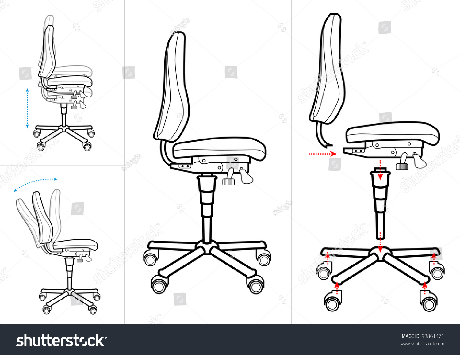 ergonomic chair instructions wood repairs office drawing stock vector 98861471
