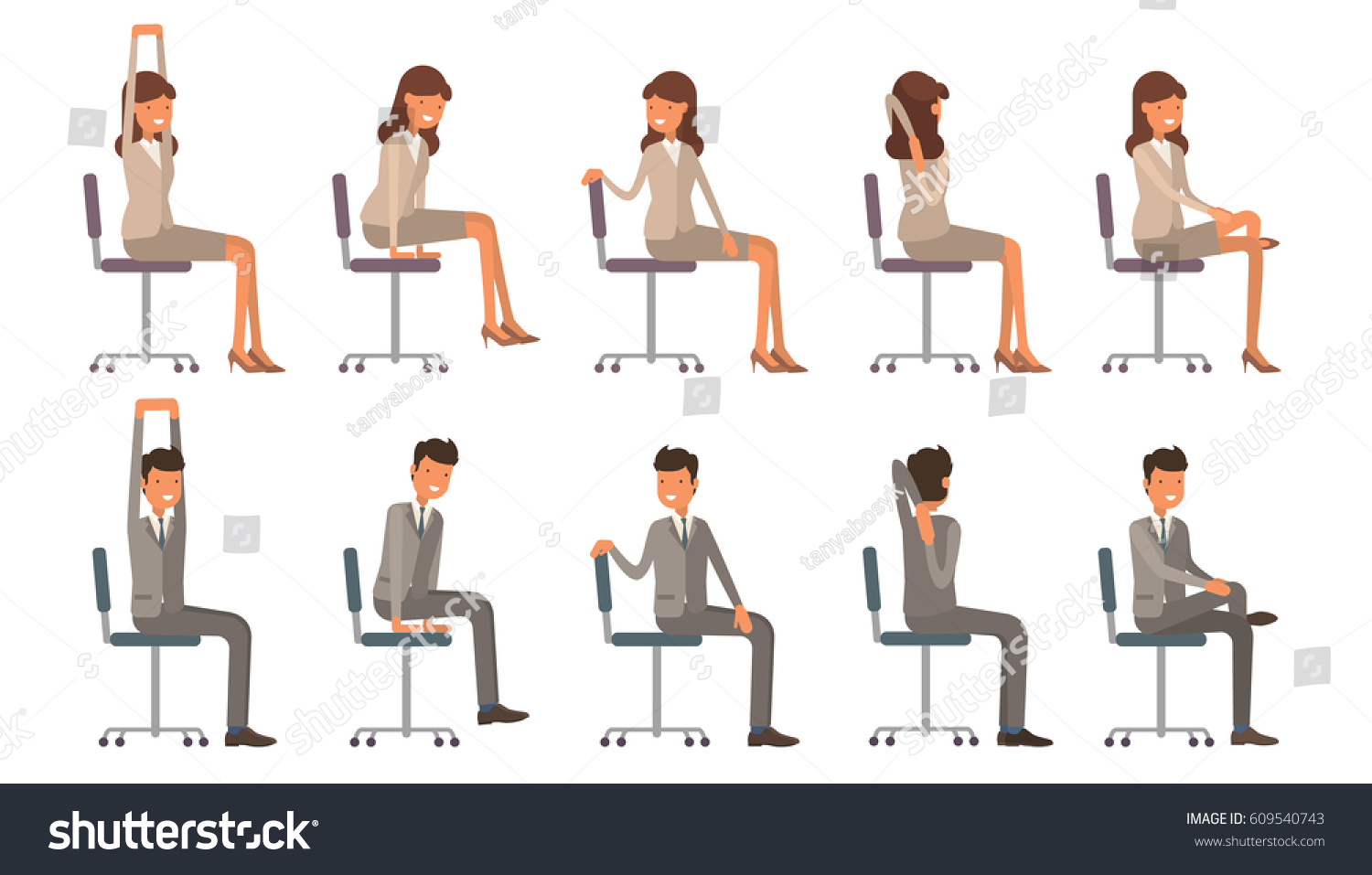 chair exercises at work does medicare cover lift chairs office yoga corporate workout vector stock