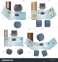Office Furniture Top View Interior Vector Stock Vector ...