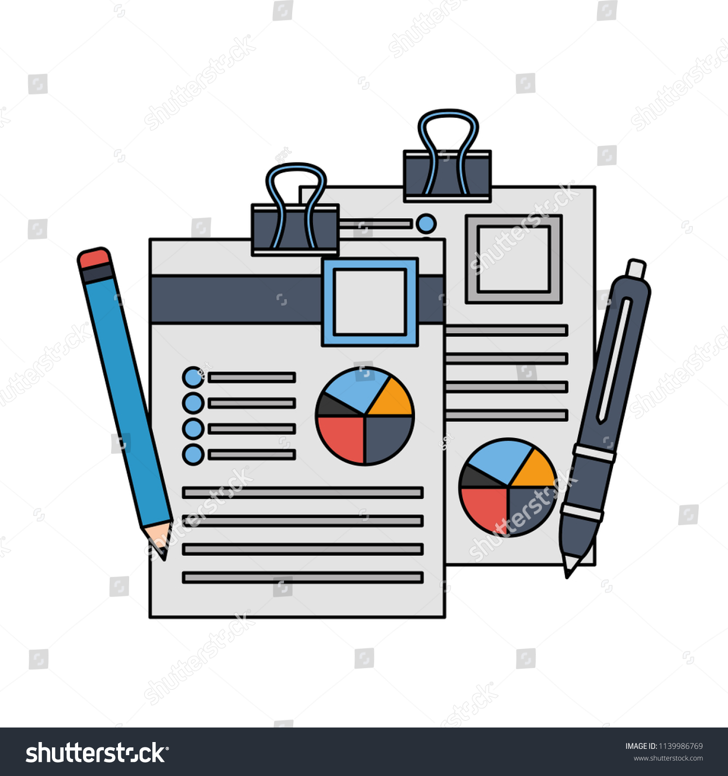 hight resolution of office paper diagram finance pen and pencil