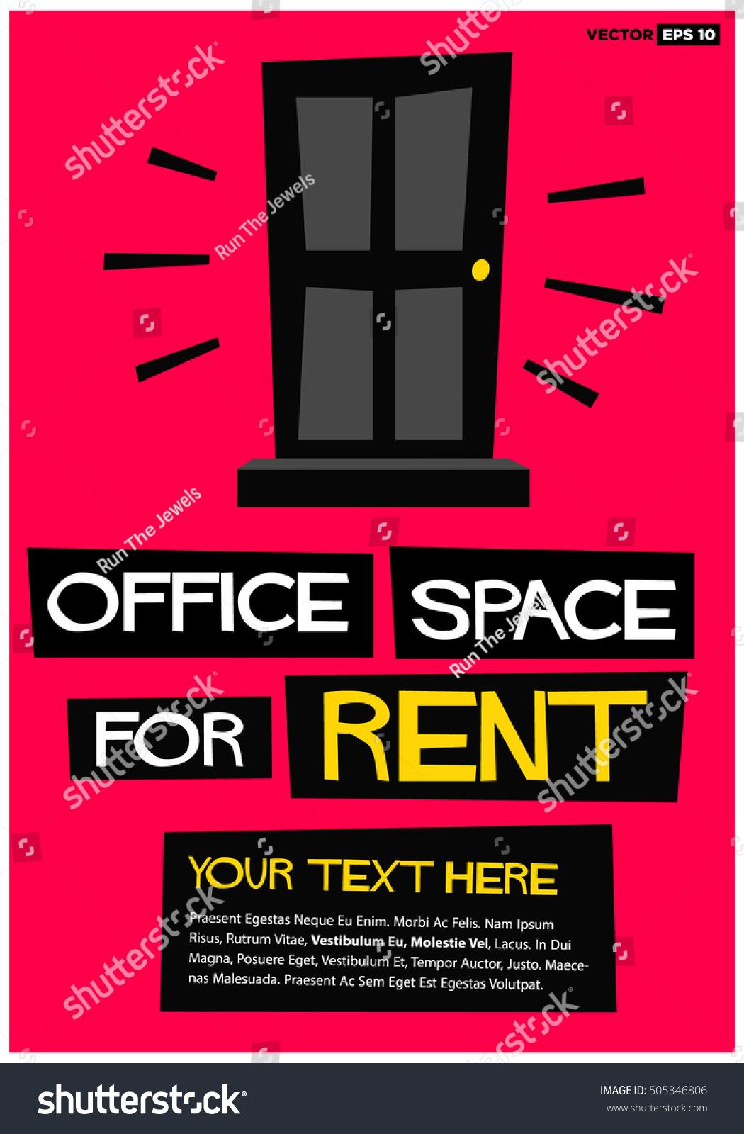 https www shutterstock com image vector office space rent poster banner board 505346806