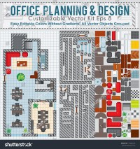 Office Space Planning And Design. Vector Kit Contains ...