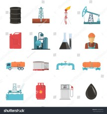 Oil Gas Industry Isolated Icon Set Stock Vector 535894024