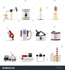 Oil And Petrol Industry Icons - Vector Icon Set 40253713