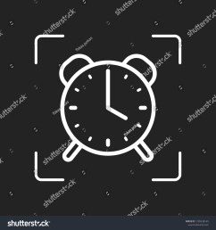 old alarm clock simple icon linear symbol with thin outline white object in camera autofocus on dark background [ 1500 x 1600 Pixel ]