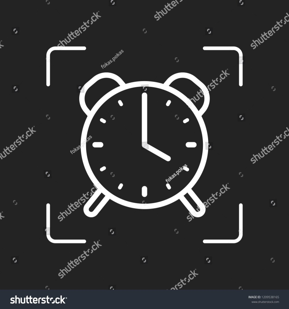 medium resolution of old alarm clock simple icon linear symbol with thin outline white object in camera autofocus on dark background