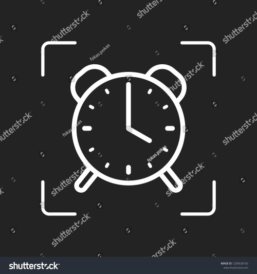 small resolution of old alarm clock simple icon linear symbol with thin outline white object in camera autofocus on dark background