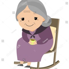 Old Lady Chair P Kolino Sitting Her Rocking Stock Vector 530868433