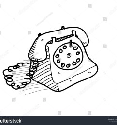 old telephone doodle a hand drawn vector doodle illustration of an old fashioned home telephone [ 1500 x 1380 Pixel ]