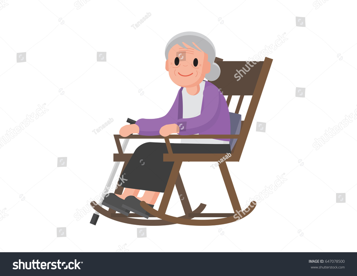 old lady chair black director covers woman sitting on rocking stock vector 647078500