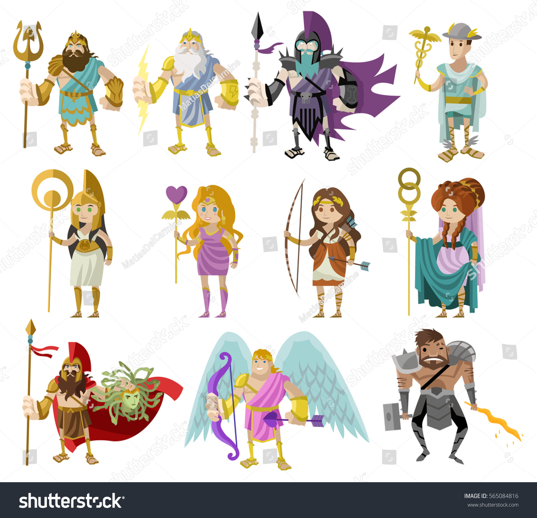 Olympian Roman Greek Gods Goddesses Stock Vector