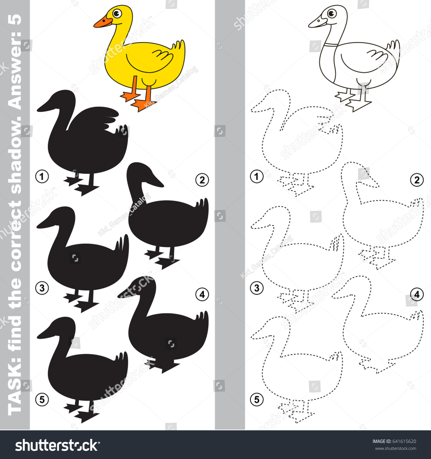 One Beautiful Yellow Duck Different Shadows Stock Vector