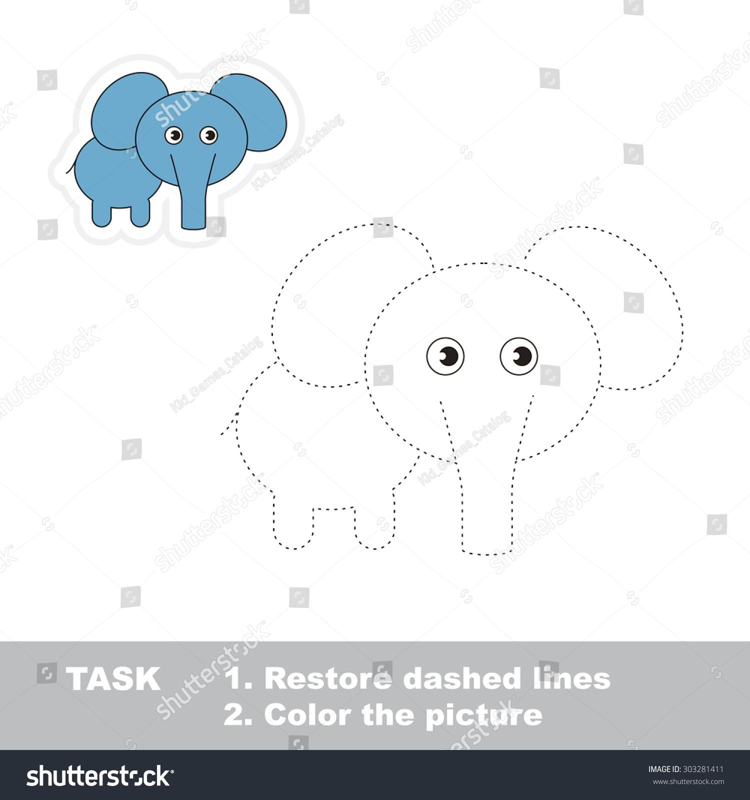 One Cartoon Elephant Be Traced Restore Stock Vector