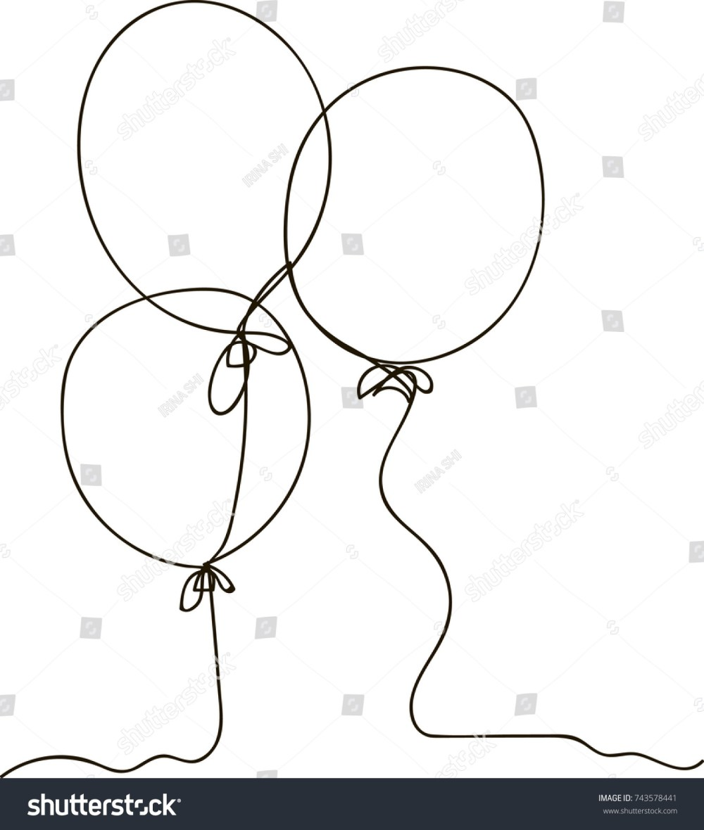 medium resolution of one line drawing of isolated vector object air balloon
