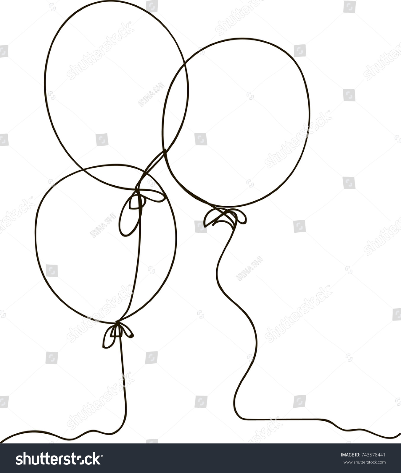 hight resolution of one line drawing of isolated vector object air balloon