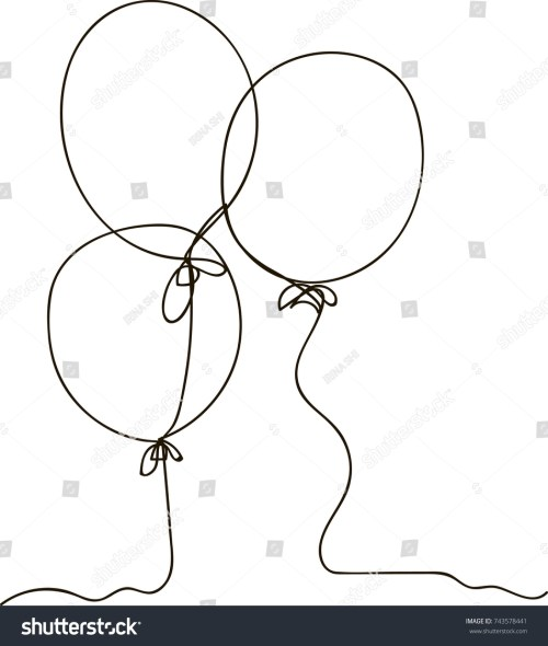 small resolution of one line drawing of isolated vector object air balloon