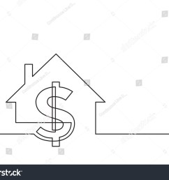 one line drawing of isolated vector object dollar sign and house [ 1500 x 1161 Pixel ]