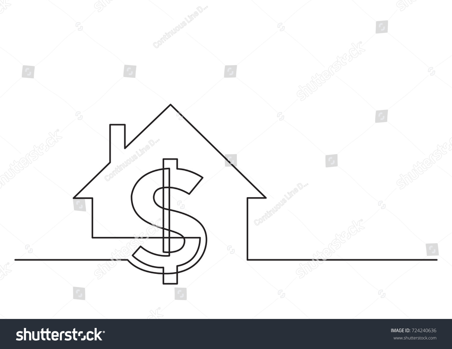 hight resolution of one line drawing of isolated vector object dollar sign and house