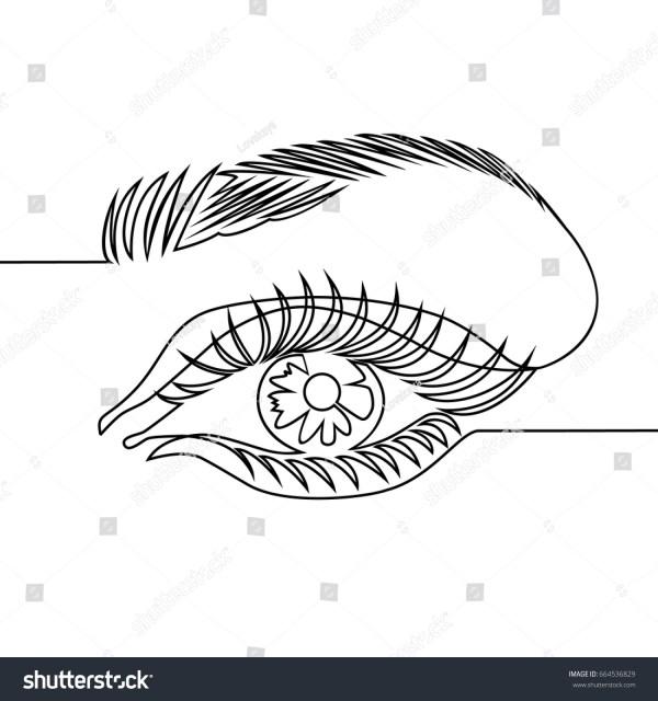 Line Drawing Woman Eye Stock Vector 664536829 - Shutterstock