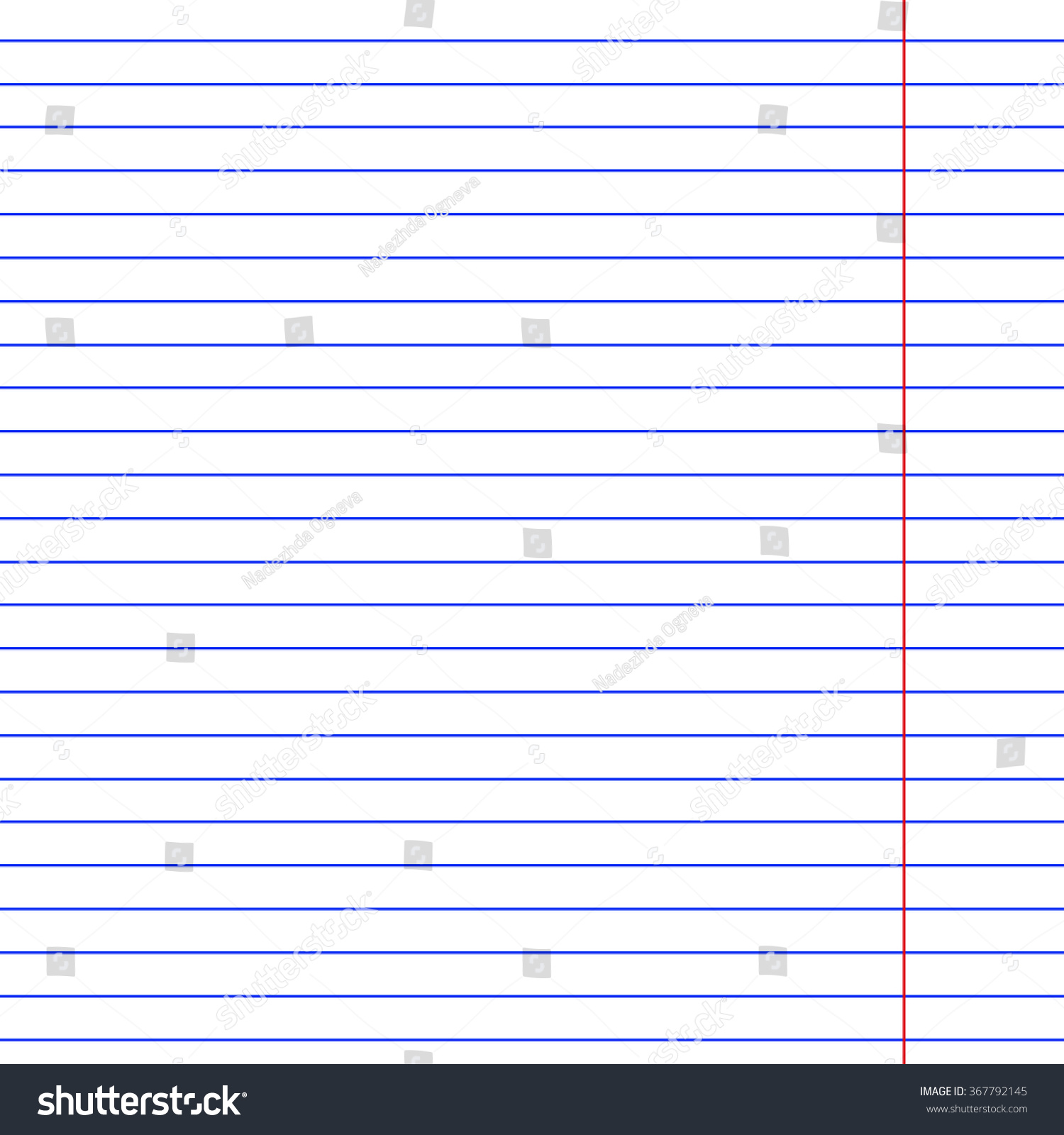 One Page Paper Sheet School Writing Stock Vector