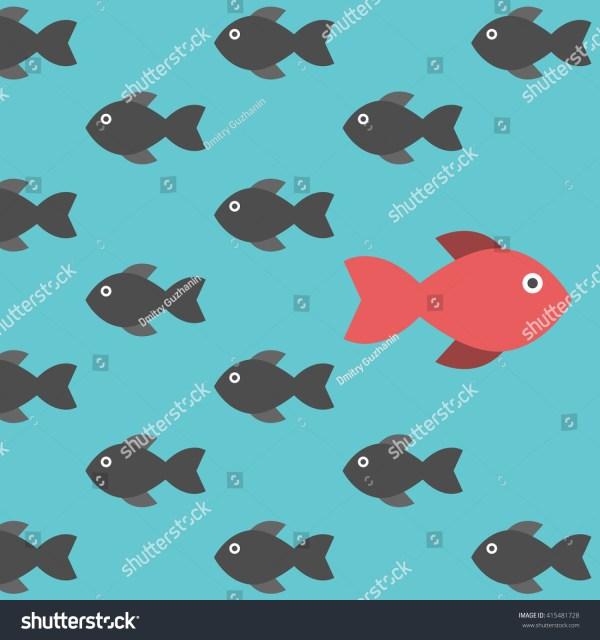 Red Unique Fish Swimming Stock Vector