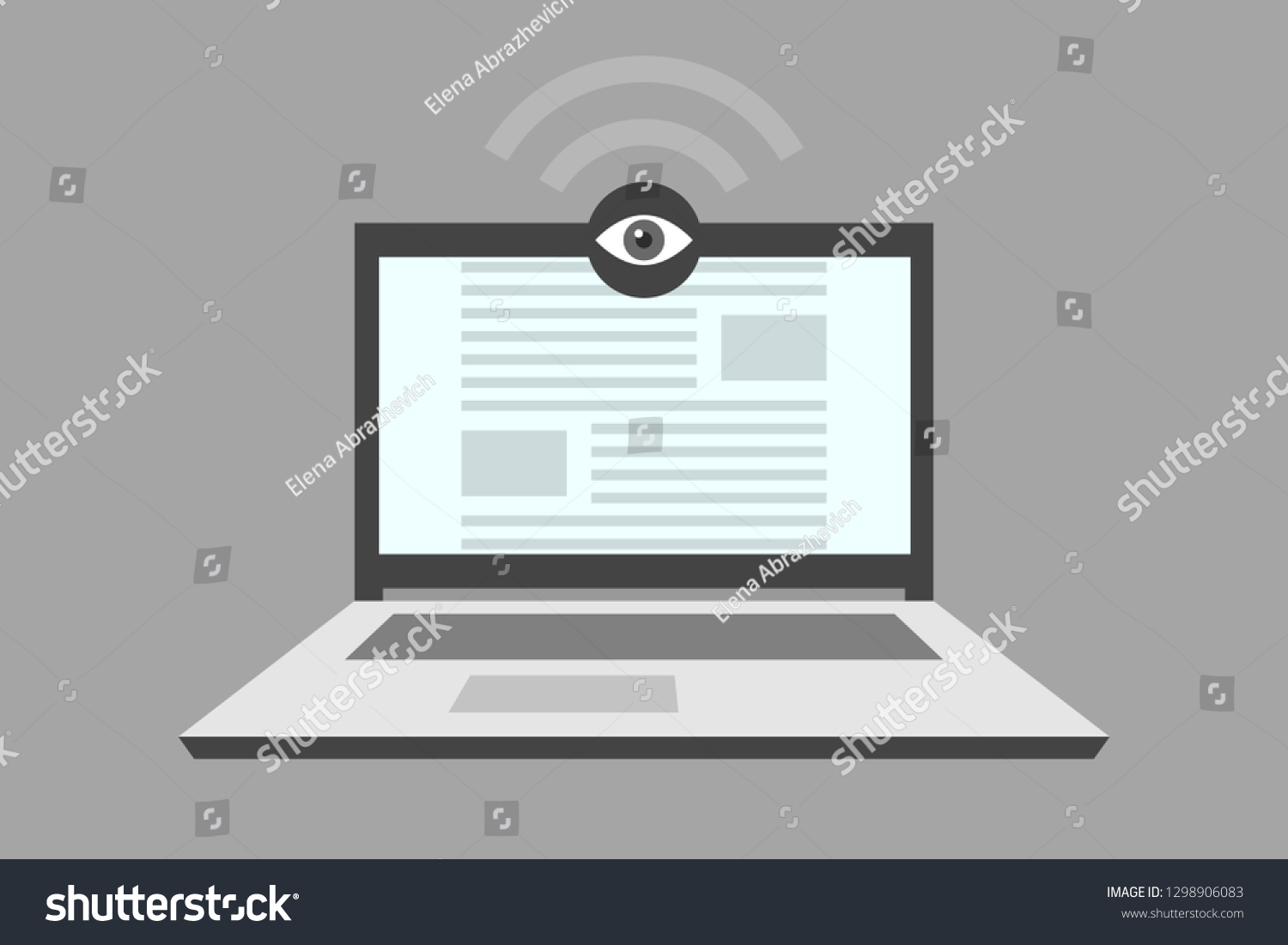 hight resolution of open laptop and webcam with an eye as a symbol of user tracking and