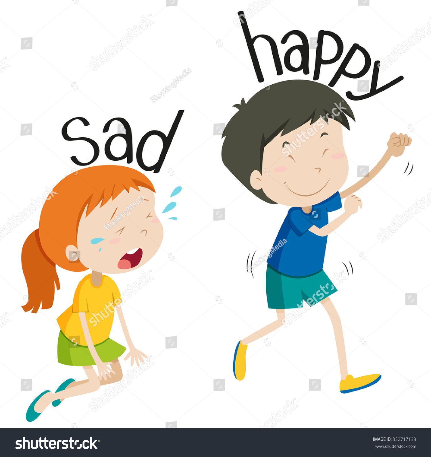 Opposite Adjective Sad Happy Illustration Stock Vector