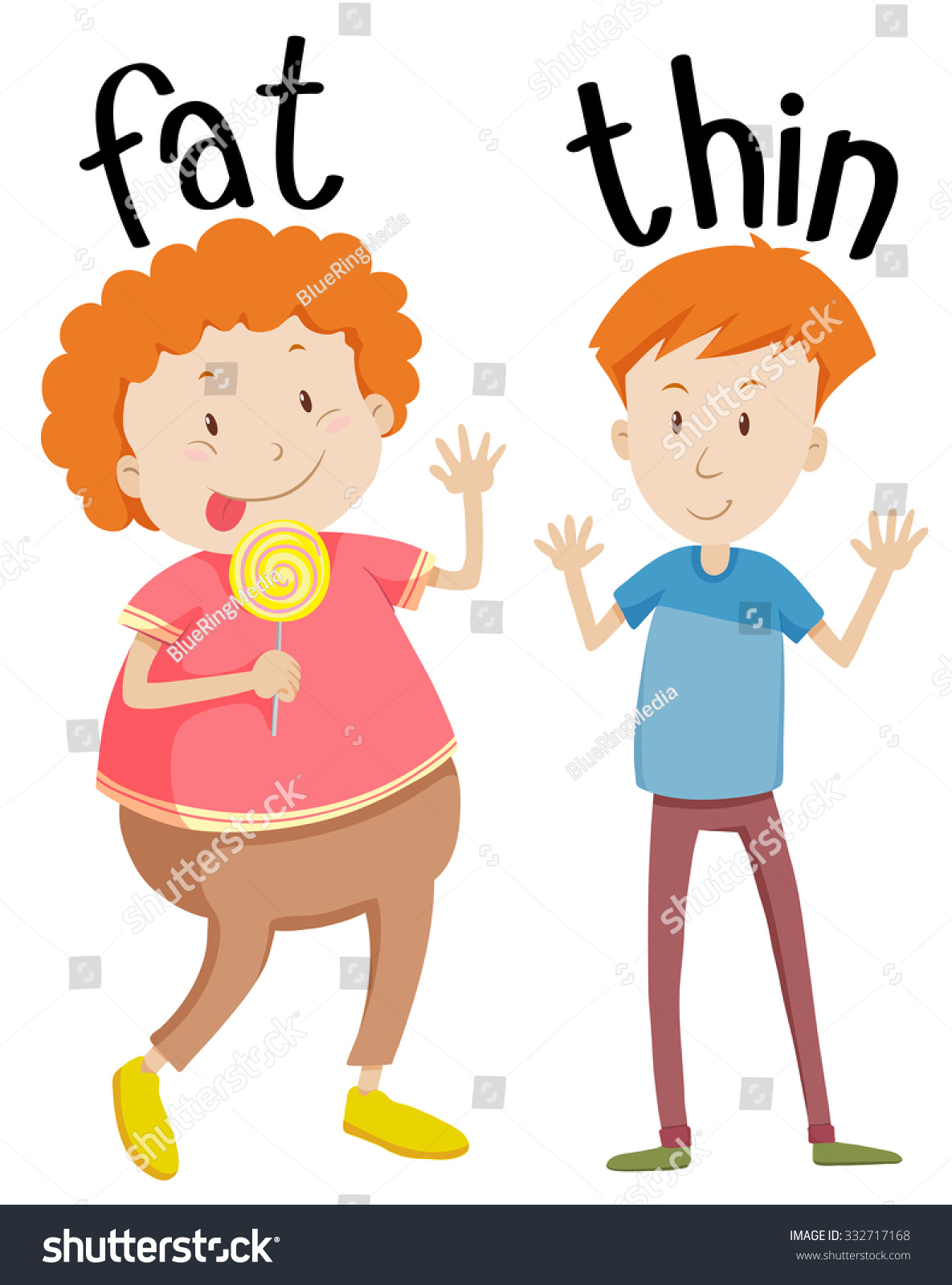 Opposite Adjectives Fat Thin Illustration Stock Vector