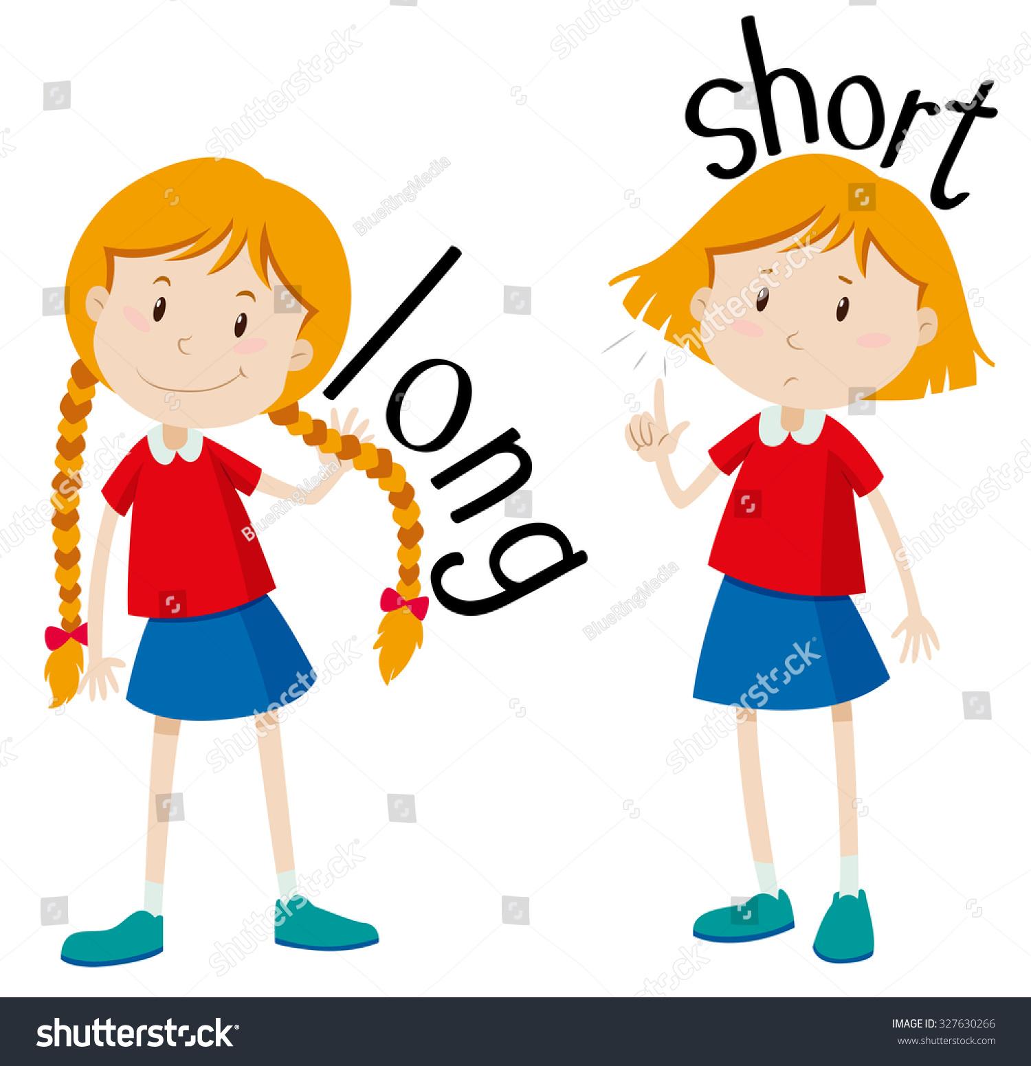 Opposite Adjectives Long Short Illustration Vectores En