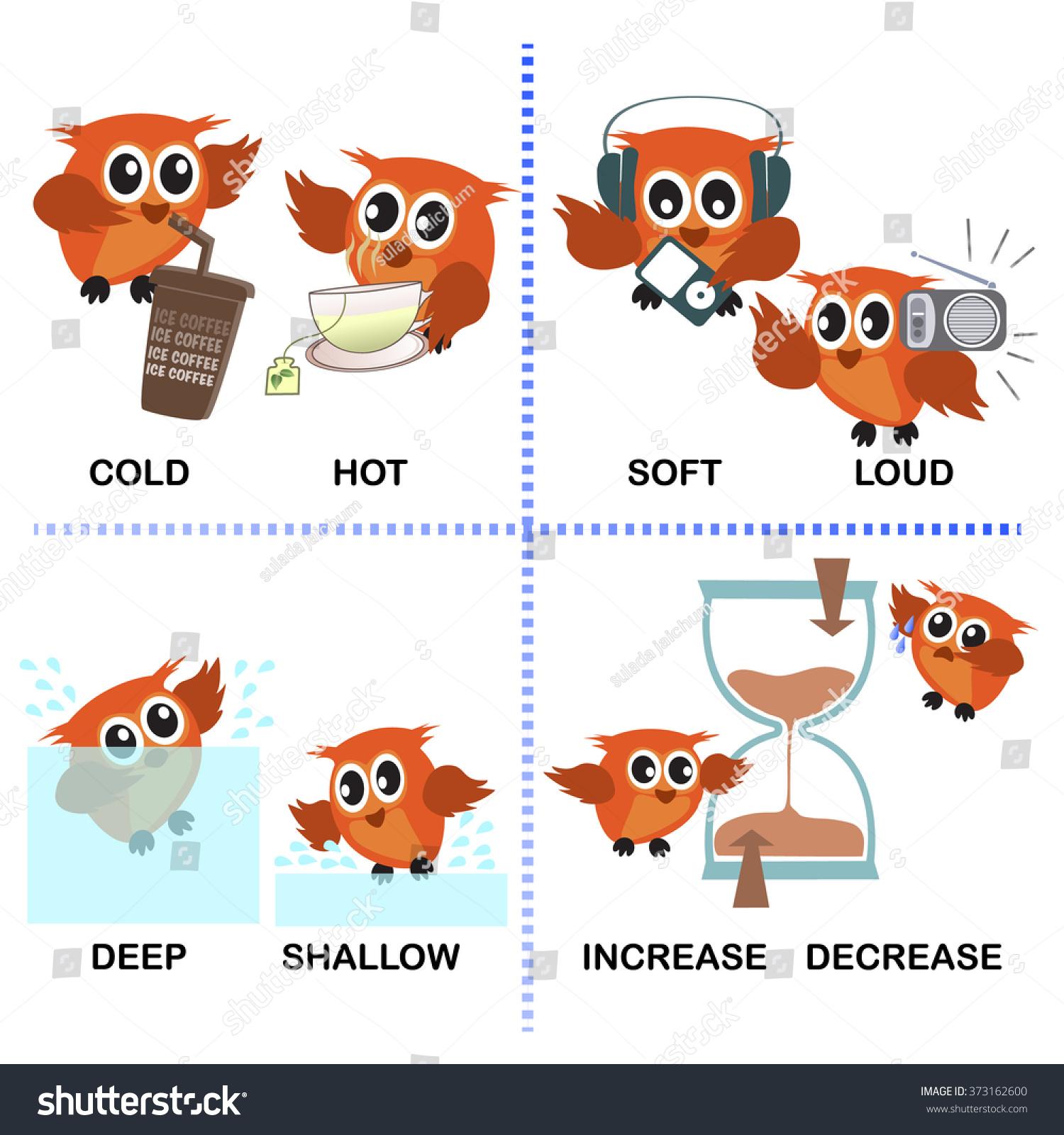 Opposite Word Vector Background Preschool Cold Stock