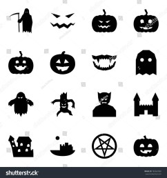 origami style icon set grim reaper vector scary face pumpkin monster jaws [ 1500 x 1600 Pixel ]