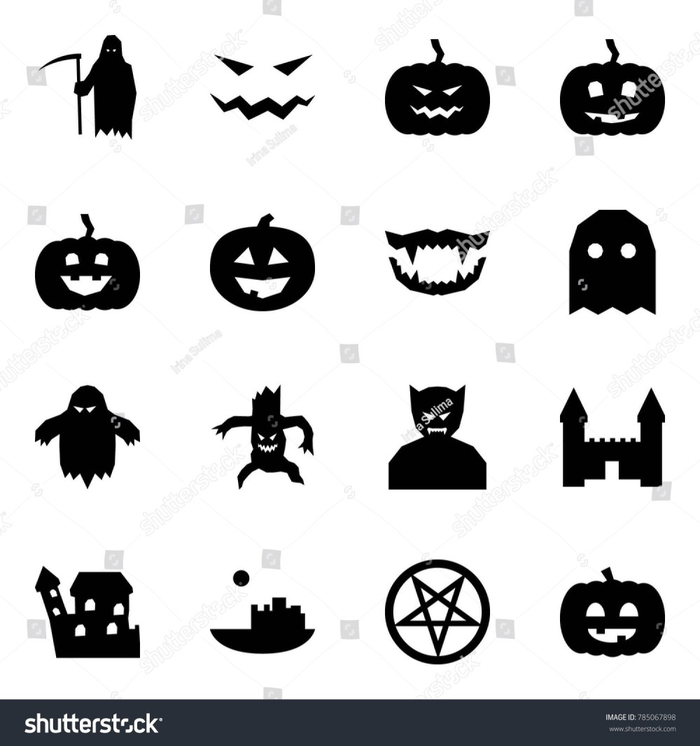 medium resolution of origami style icon set grim reaper vector scary face pumpkin monster jaws