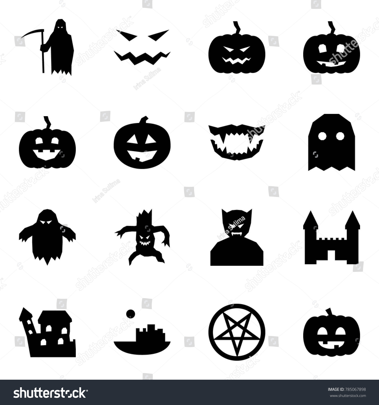 hight resolution of origami style icon set grim reaper vector scary face pumpkin monster jaws