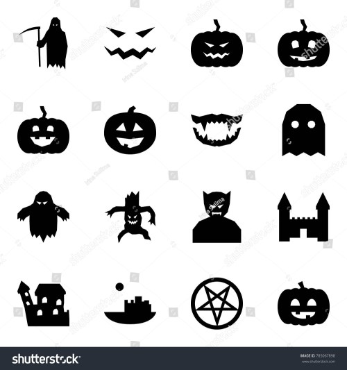 small resolution of origami style icon set grim reaper vector scary face pumpkin monster jaws