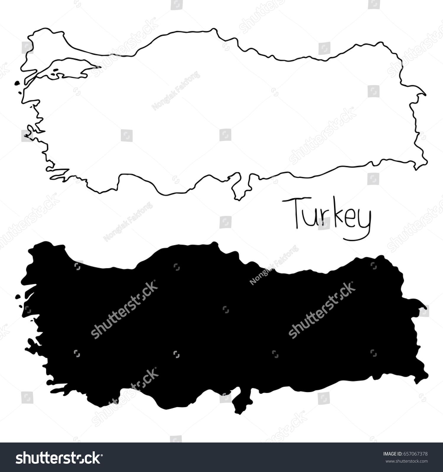 Outline Silhouette Map Turkey Vector Illustration Stock