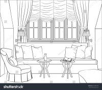 Outline Drawing Interior Room Window Sofa Stock Vector ...