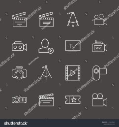 outline 16 film icon set film strip photo camera user mediaplayer and tripod vector illustration [ 1500 x 1600 Pixel ]