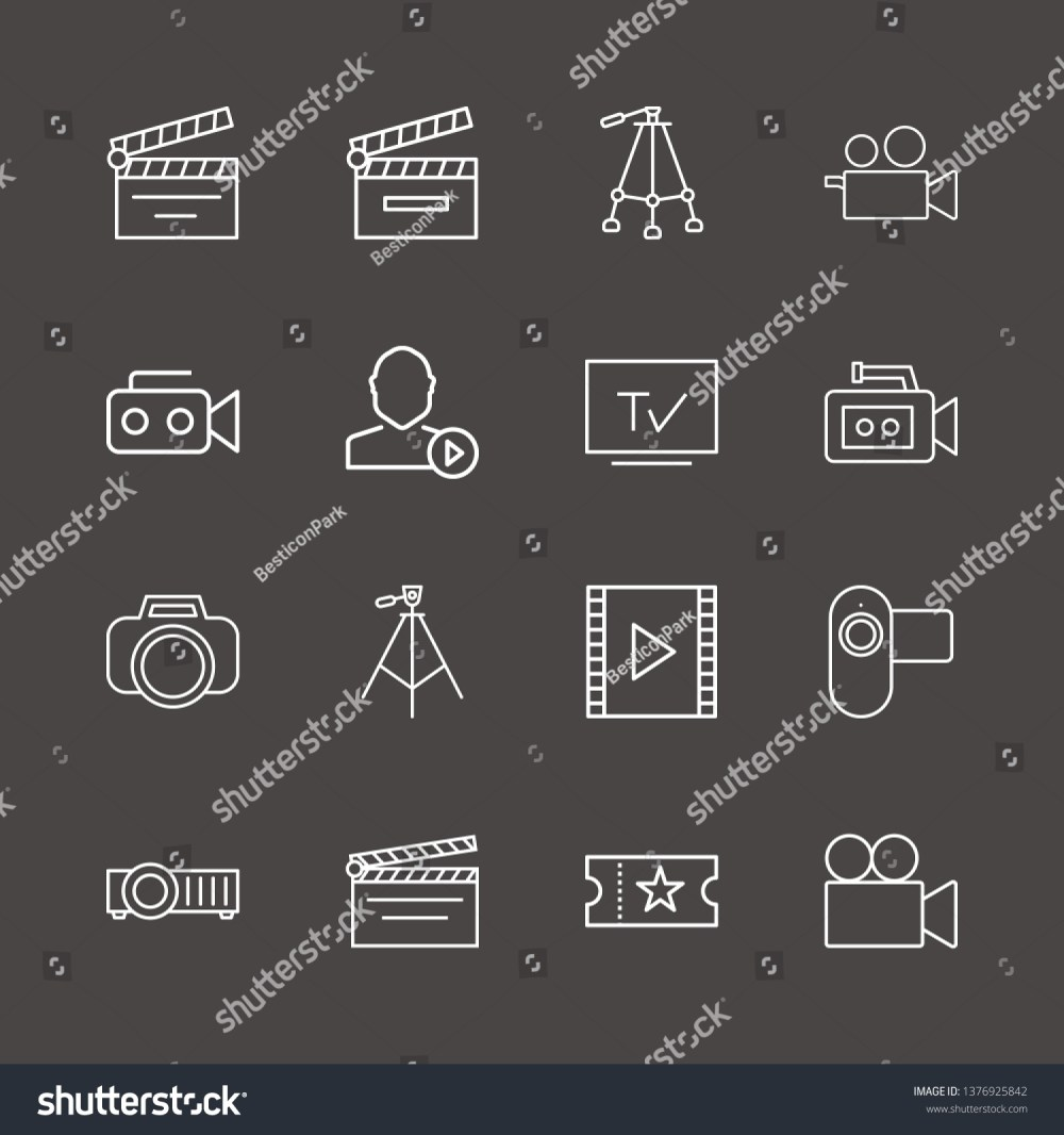 medium resolution of outline 16 film icon set film strip photo camera user mediaplayer and tripod vector illustration
