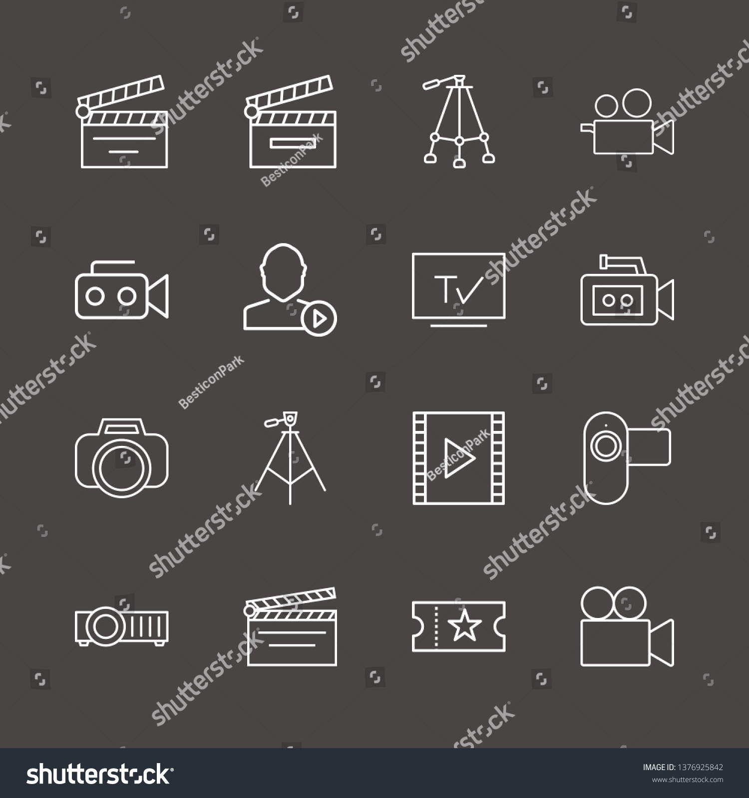 hight resolution of outline 16 film icon set film strip photo camera user mediaplayer and tripod vector illustration