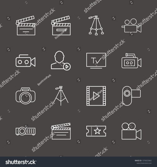 small resolution of outline 16 film icon set film strip photo camera user mediaplayer and tripod vector illustration