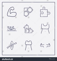 outline 9 fit icon set bike rowing fit woman body and jigsaw vector [ 1500 x 1600 Pixel ]