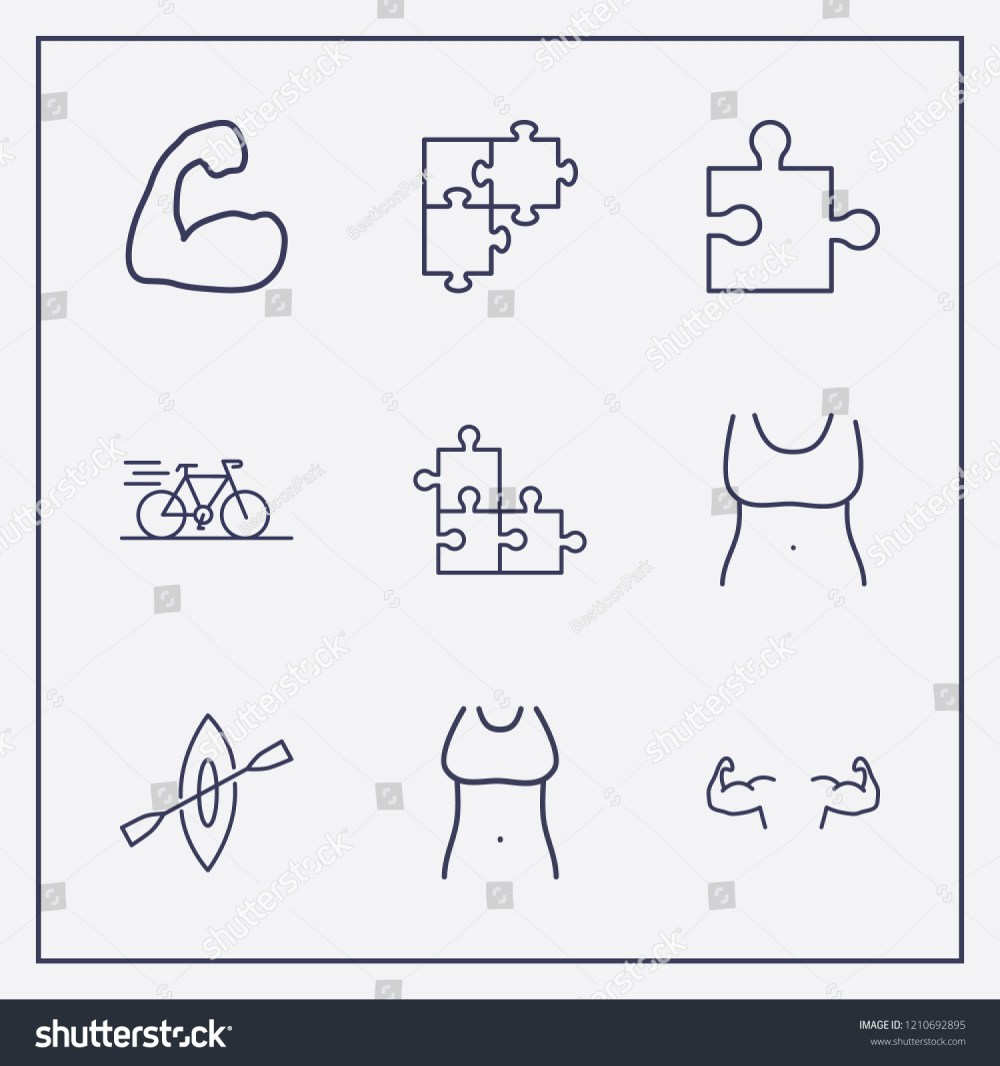 medium resolution of outline 9 fit icon set bike rowing fit woman body and jigsaw vector