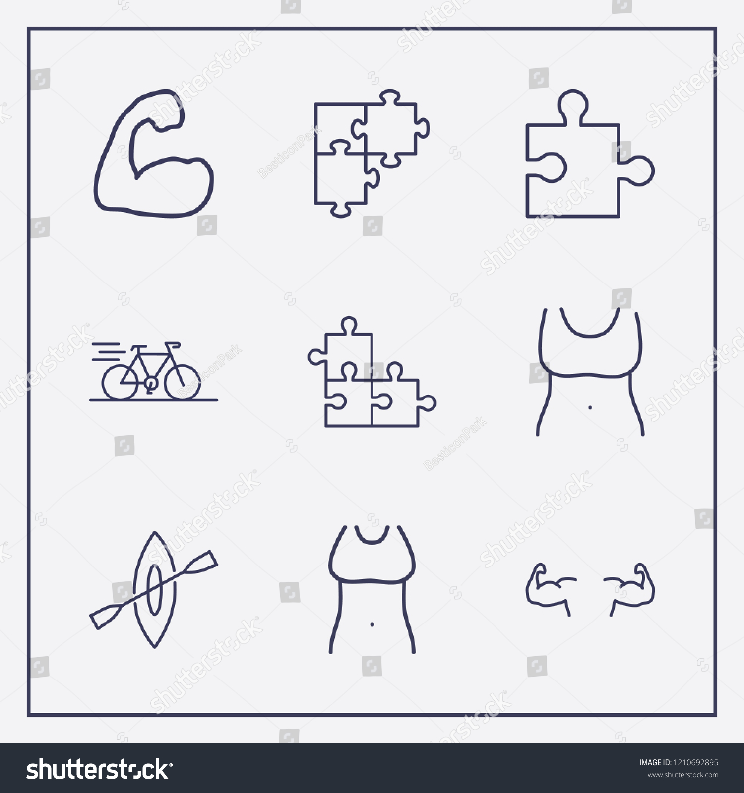 hight resolution of outline 9 fit icon set bike rowing fit woman body and jigsaw vector