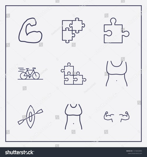 small resolution of outline 9 fit icon set bike rowing fit woman body and jigsaw vector