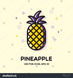 Outline Pineapple Icon Covers Placards Posters Stock Vector Royalty Free 1119844562