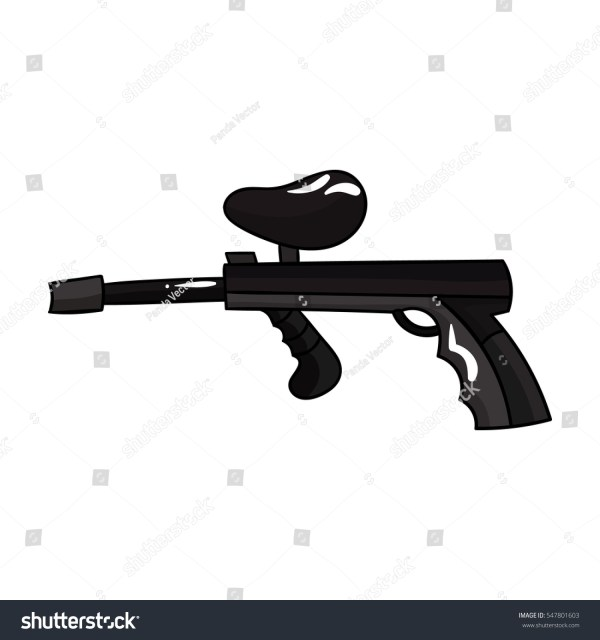 Paintball Gun Icon Cartoon Style Isolated Stock Vector