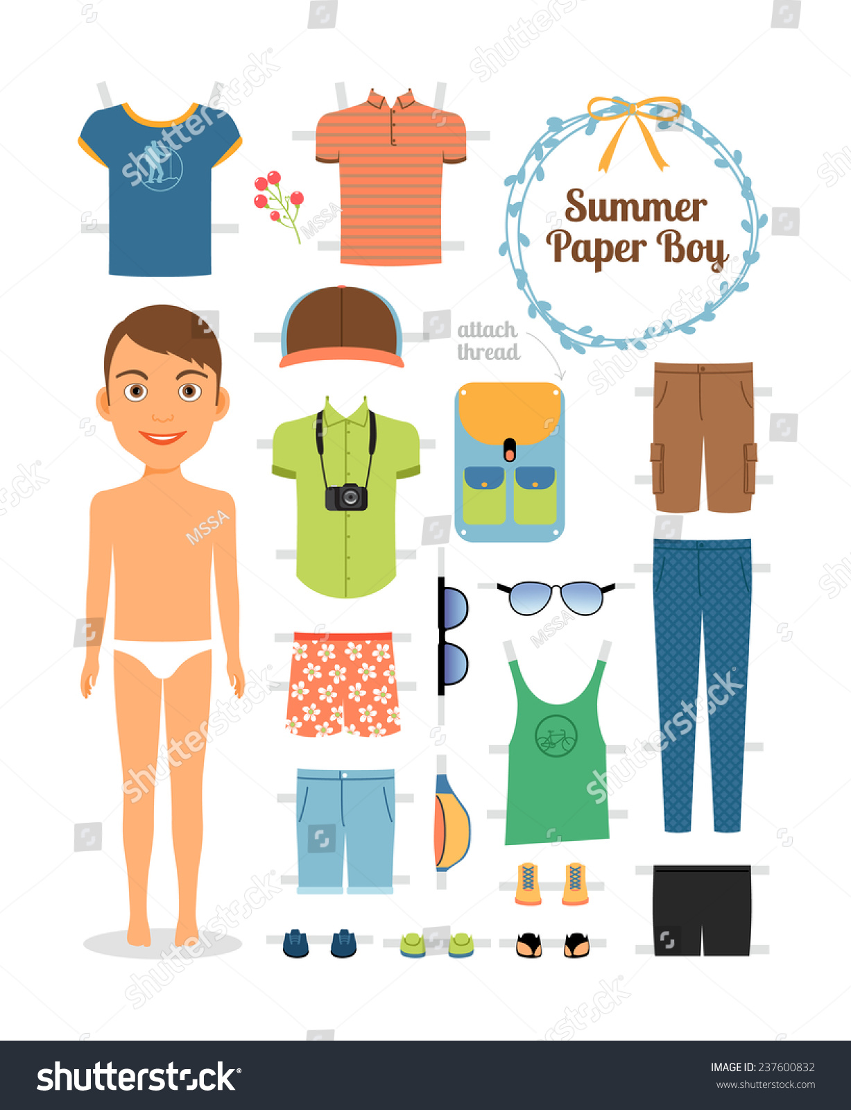 Paper Doll Boy Summer Clothes Shoes Stock Vector