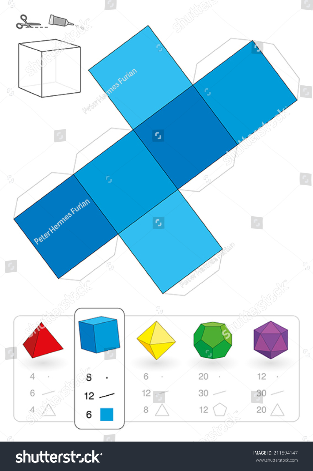 Paper Model Cube Hexahedron One Five Stock Vector